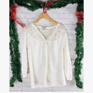 Lucky Brand lace white  blouse small